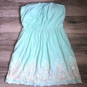 Beautiful Pastel Blue Strapless Dress w/ Lace EUC